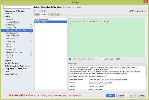 3.然后选中Includes tab下面的File Header